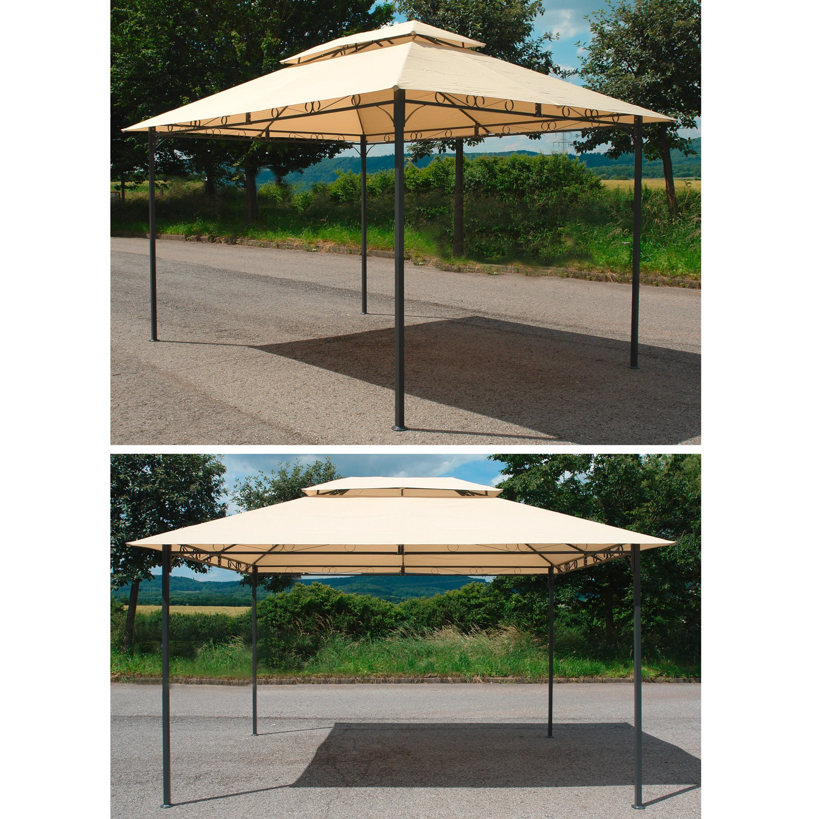 pavillon beige 3 x 4 m garten gartenpavillon berdachung gartenzelt neu ebay. Black Bedroom Furniture Sets. Home Design Ideas