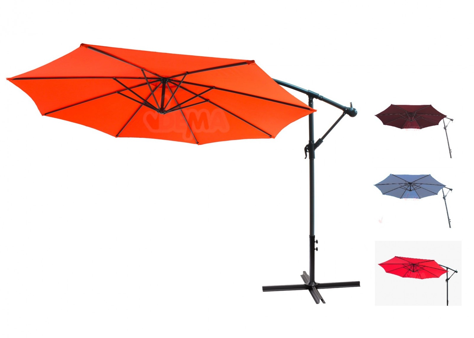 dema ampelschirm sonnenschirm rot hellblau orange. Black Bedroom Furniture Sets. Home Design Ideas